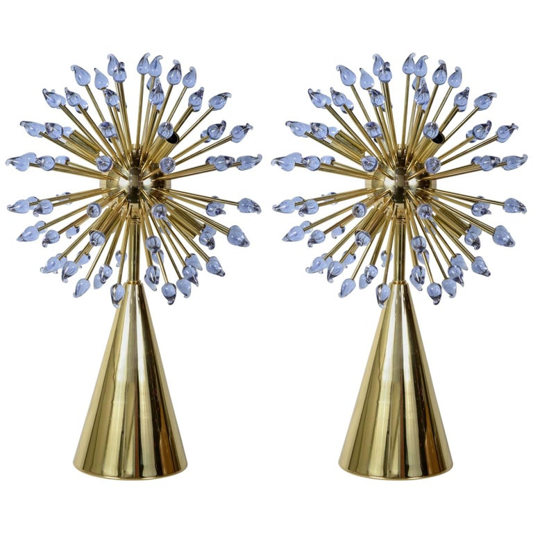 "Pair of Murano Glass Table ""Sputnik"" Lamps by Guanluca Fontana"