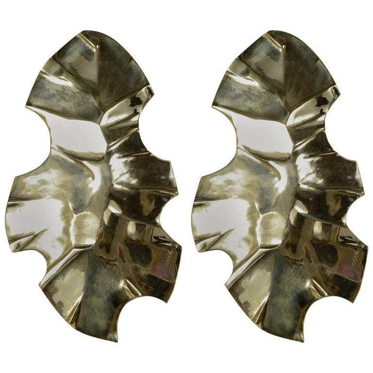 Pair of Bronze Sconces by Willy Daro