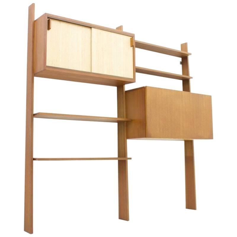 dieter wckerlin teak shelf with seagrass sliding doors a bar or desk 1950s elegant midcentury bookcase from denmark