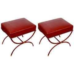 Rare Pair of Stools by Jacques Adnet