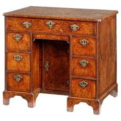 Queen Anne Burr Walnut Secretaire Kneehole Desk