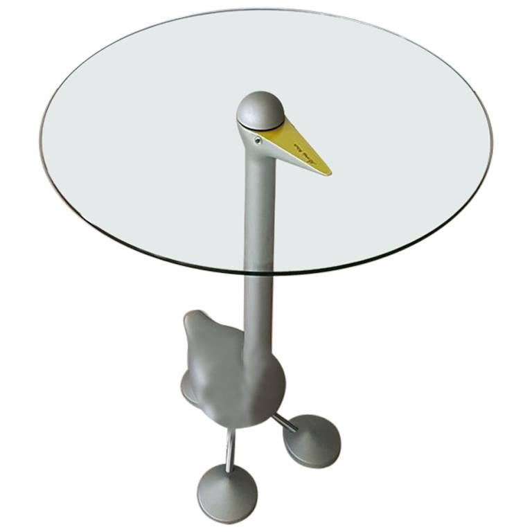 """Sirfo"" Signed Coffee Table by A. Mendini in Glass and Aluminium Postmodern"