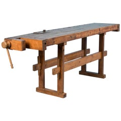 Antique Carpenter's Workbench or Console Table