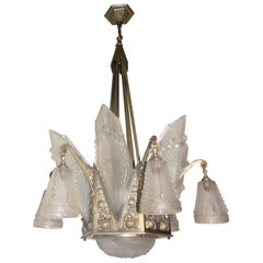 Schneider Art Deco Six-Arm Light Frosted Panel Glass Silvered Chandelier
