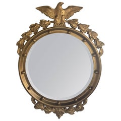 Regency Style Convex Bullseye Wall Mirror with Carved Eagle and Acanthus