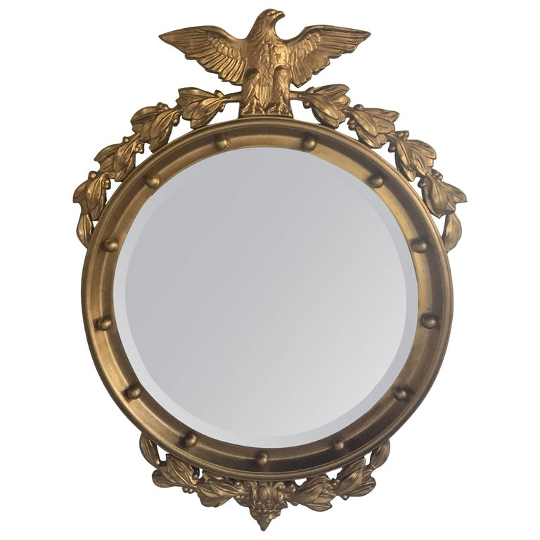 Regency Style Convex Bullseye Wall Mirror With Carved