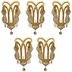 "Five French Art Deco Style ""Octopus"" Wall Sconces"