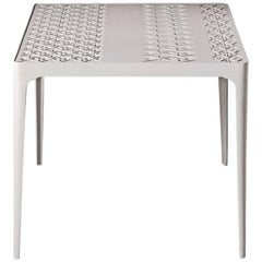 """""""Sunrise"""" White Painted Aluminum Square Table by L. and R. Palomba for Driade"""