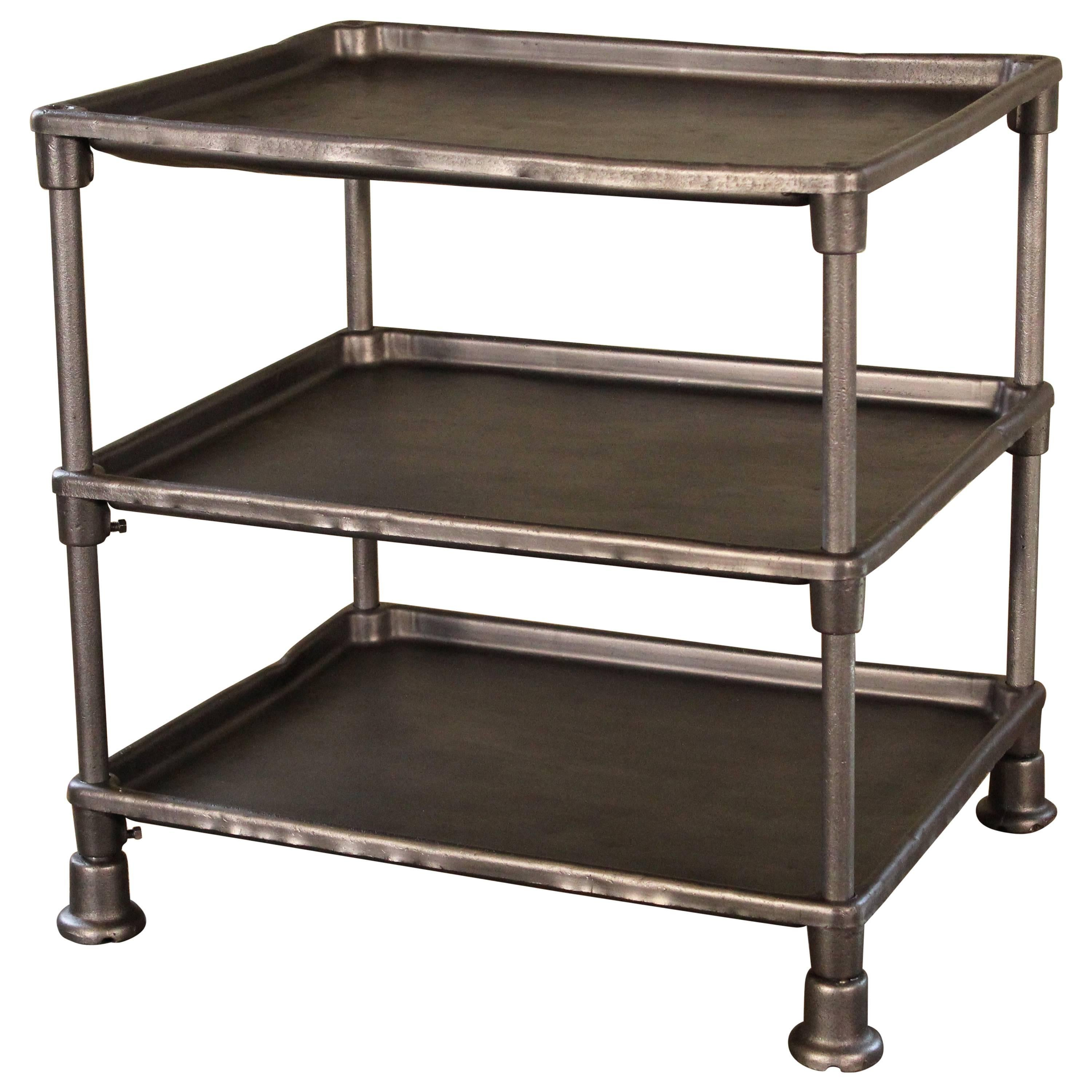 Authentic Industrial Adjustable Three-Tier Table, Cast Iron and Steel