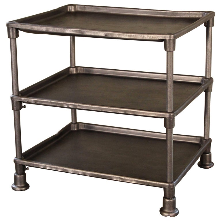Authentic Industrial Adjustable Three-Tier Table, Cast Iron and Steel For Sale