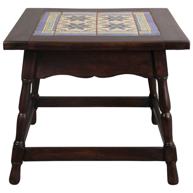 Rare malibu california tile table with border tiles for for Table border