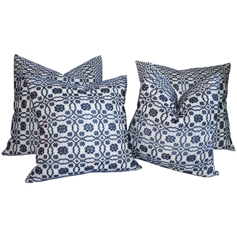 Vintage Jacquard Coverlet Pillows, Collection of Four For Sale