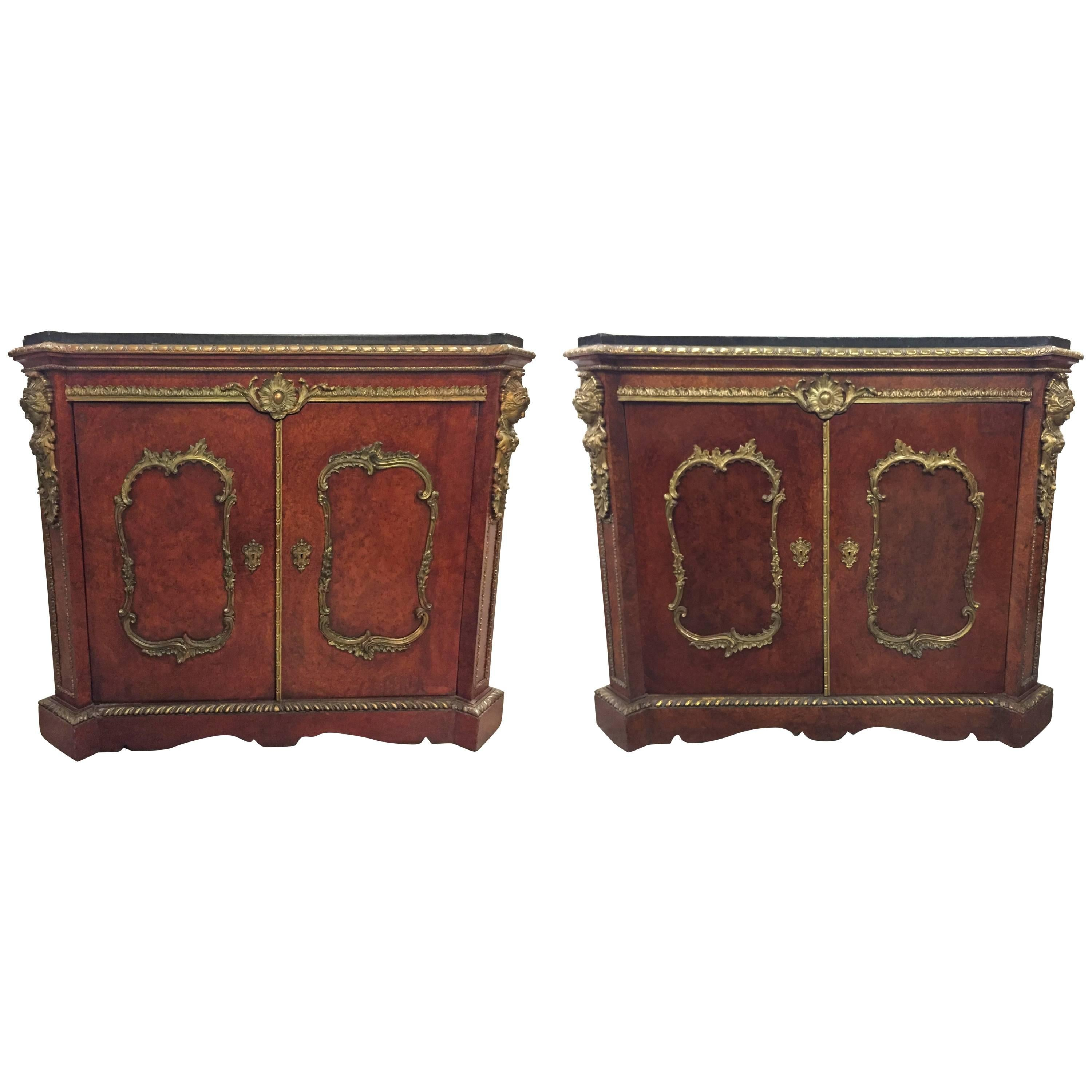 Pair of French Gilt Bronze-Mounted Cabinets, 19th Century