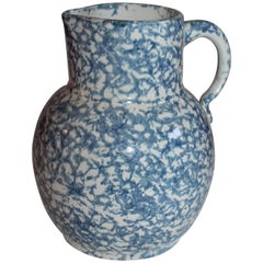 19th Century Spongeware Pottery Water Pitcher