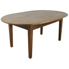 Antique Oval Poplar Dining Table with Oak Base