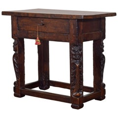 Italian Baroque Period Carved Walnut One Drawer Centre Table, 17th Century