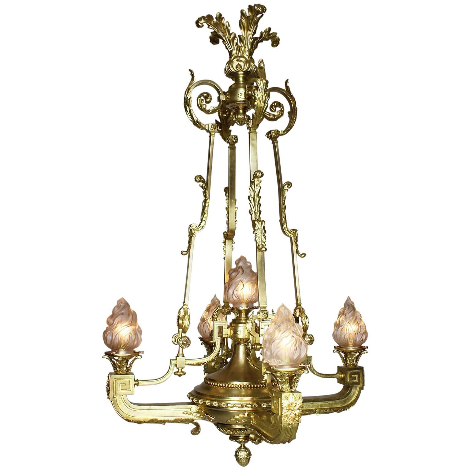 French 19th-20th Century Neoclassical Style Gilt Bronze Five-Light Chandelier