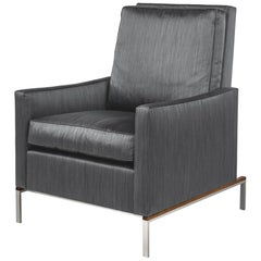 Larkin Armchair with Grey Silk Cotton Strié, Nickel and Teak Base