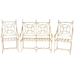Midcentury French Iron Garden Set with Pair of Armchairs and Settee