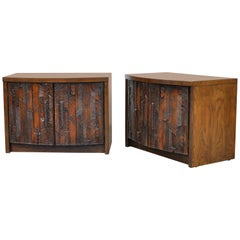 Pair of Lane Brutalist Cabinet Nightstands