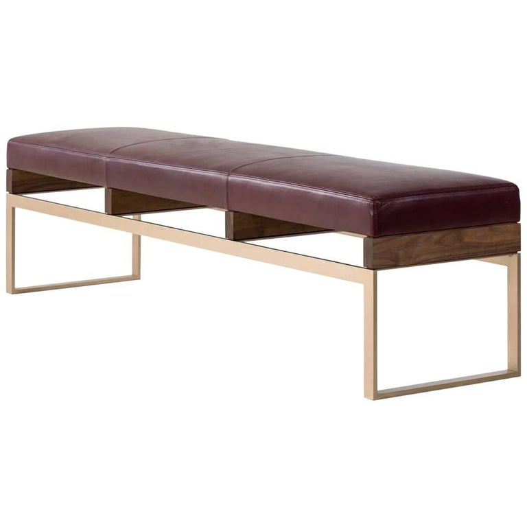 Maxim Bench with Bronze and Walnut Base, Plum Leather Seat