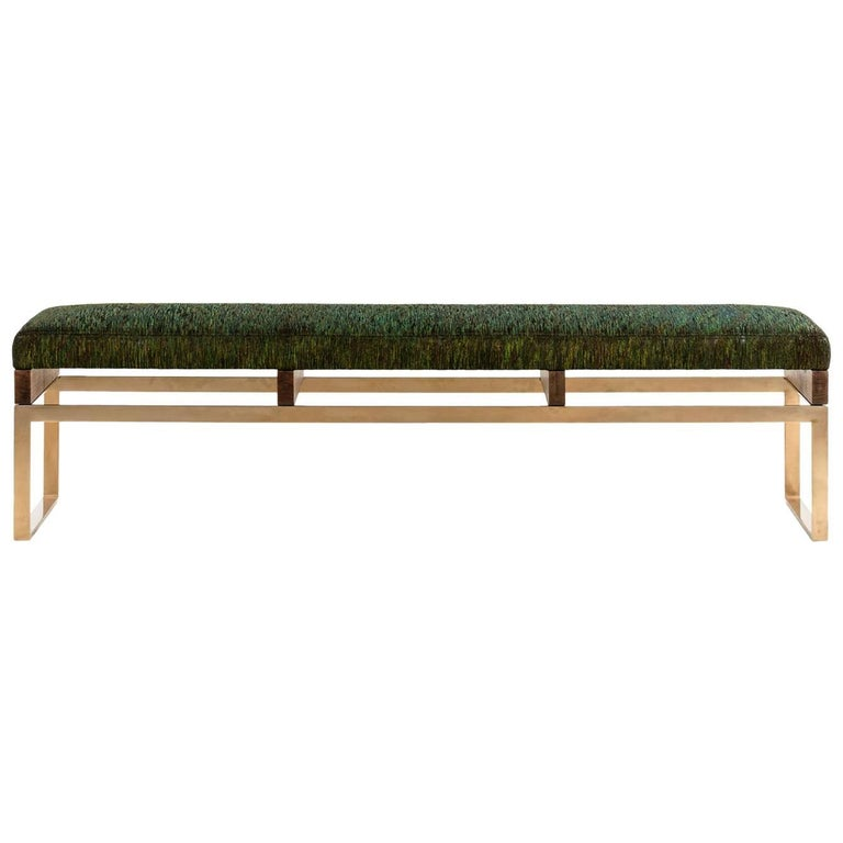 Maxim Bench with Bronze and Walnut Base, Woven Peacock Fabric Seat