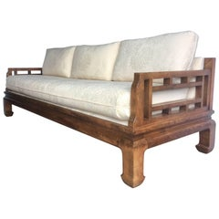 Michael Taylor for Baker Style Asian Chippendale Fretwork Sofa