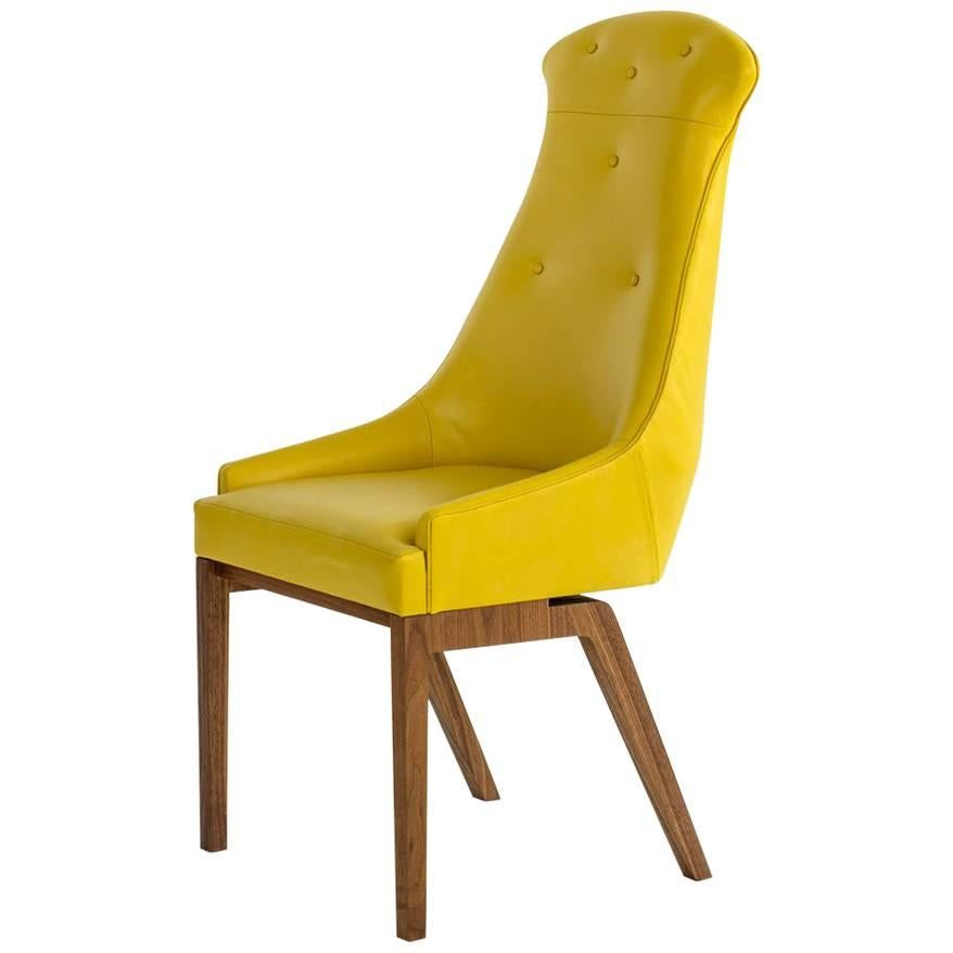 Evander Dining Chair in Yellow Leather with Solid Walnut Base, COM or COL