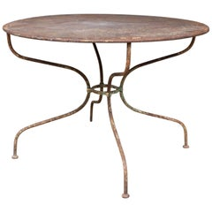 1930s Rustic Metal Garden Table Found in France