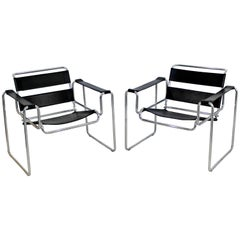 Mid-Century Modern Pair of Original Black Breuer for Stendig Wassily Chairs