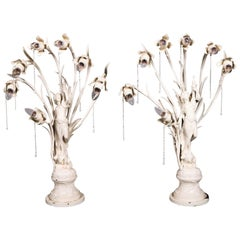 Pair Oversized Art Nouveau Figural Lamps, Flower Form Lights, Early 20th Century