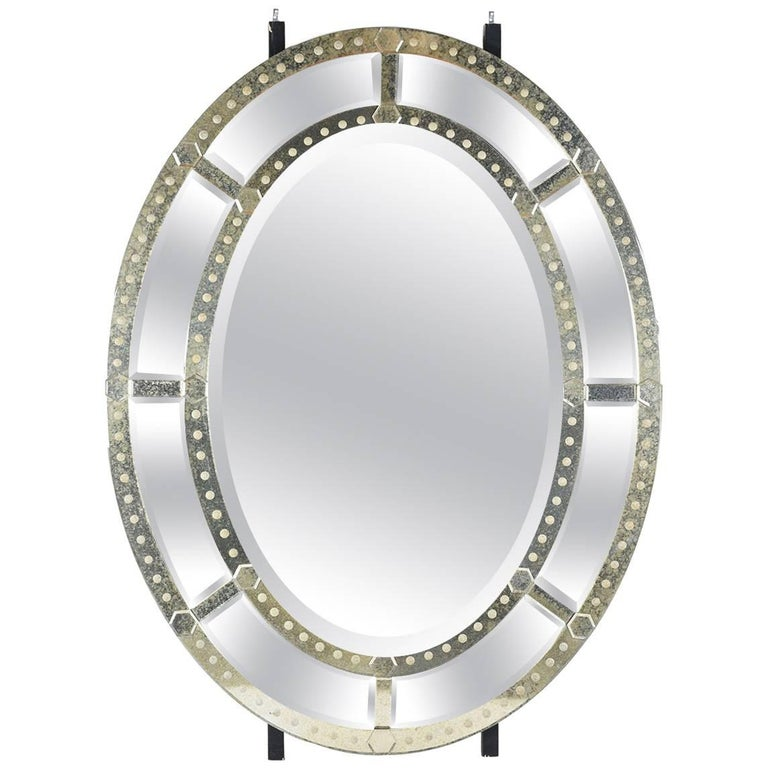 Large Venetian-Style Oval Standing Mirror For Sale at 1stdibs