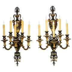 Pair of French, 19th Century Neoclassical Style Parcel-Gilt Bronze Wall Lights