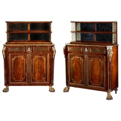 Pair of George III Rosewood & Brass Inlaid Side Cabinets John Mclean Attributed
