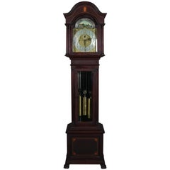 Antique Herschede Mahogany & Satinwood Inlay Long Case Clock, Early 20th Century