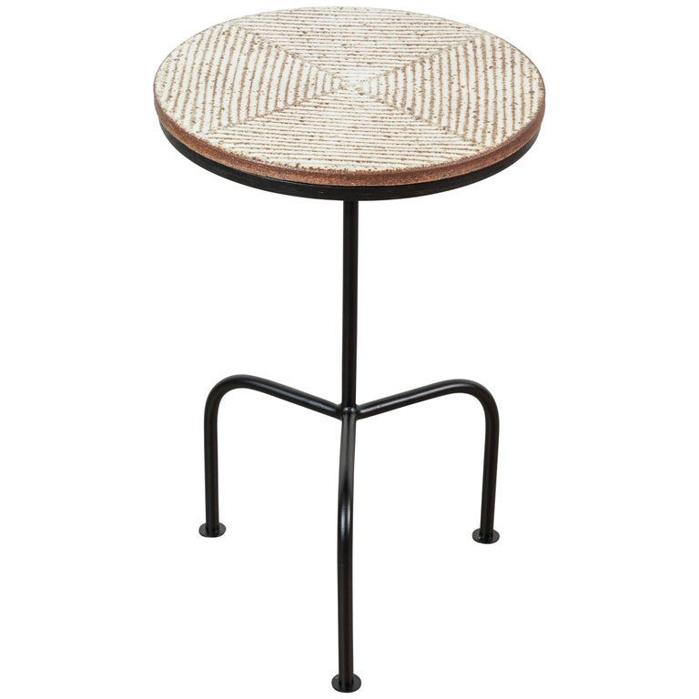 Steel and Ceramic Side Table by Mt. Washington Pottery for Lawson-Fenning