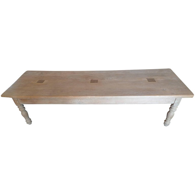 French 19th Century Stained Pine Long Coffee Table.