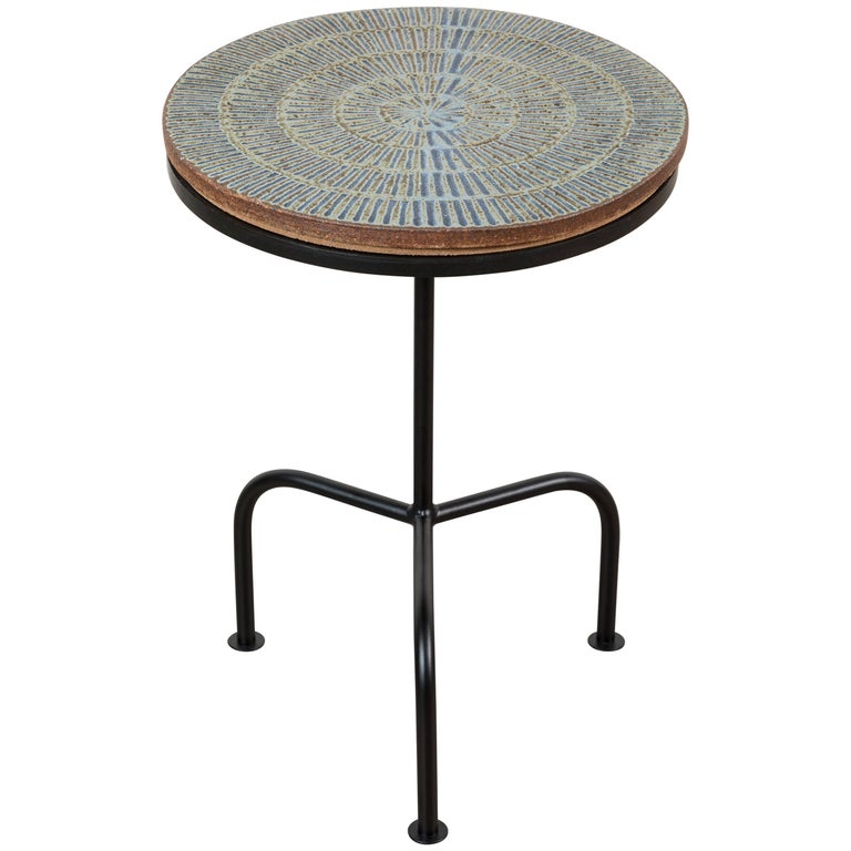 Steel and Ceramic Side Table by Mt. Washington Pottery for Collabs in Clay For Sale