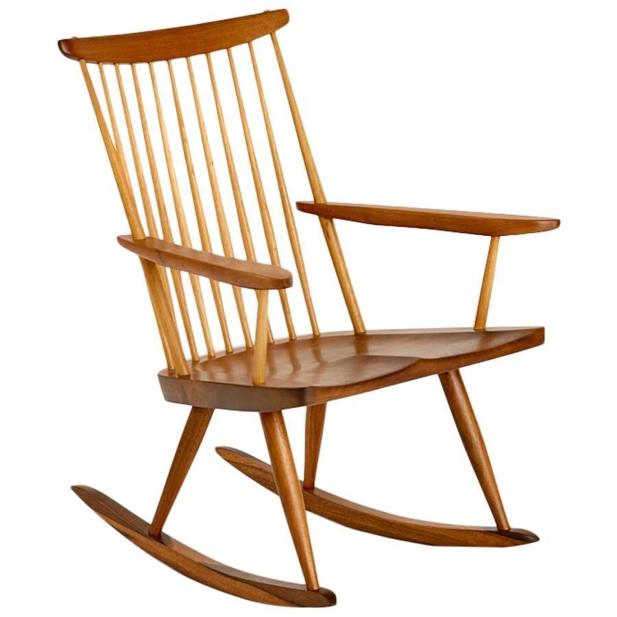 Beautiful George Nakashima Single Board Rocking Armchair For Sale