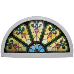 Antique Demilune Stained and Leaded Glass Arched Transom Window