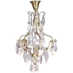 French Five-Light Brass and Cut Crystal Chandelier, Stylized Floral and Foliate