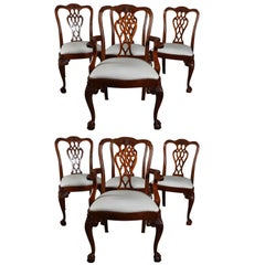 Set of Eight Chippendale Style Flat Back Carved Mahogany Dining Chairs