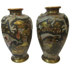 Pair of Japanese Satsuma Vases, Meiji Period