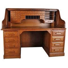 Antique Oak Roll Top Desk with Swing Sides by Derby, Boston, Mass