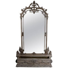 Vintage Italian Baroque Style Garden Pier Mirror with Planter, Alligator Finish