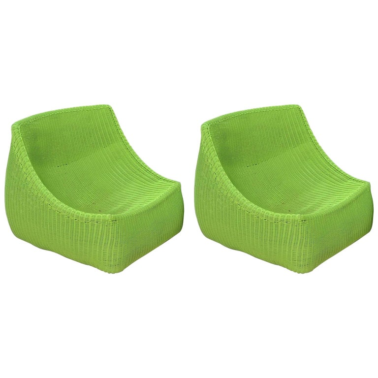 Pair of Woven Fiberglass Lime Green Lounge Chairs