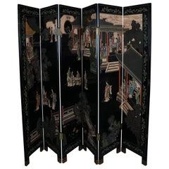 Carved Coromandel Hand-Painted Ebonized 4-Panel Dressing Screen, Village Scenes