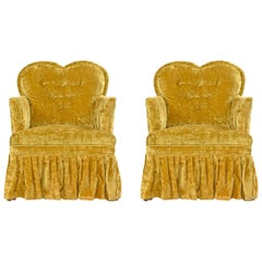 Crushed Velvet Petit Heart Shaped Hollywood Regency Chartreuse Bedroom Chairs