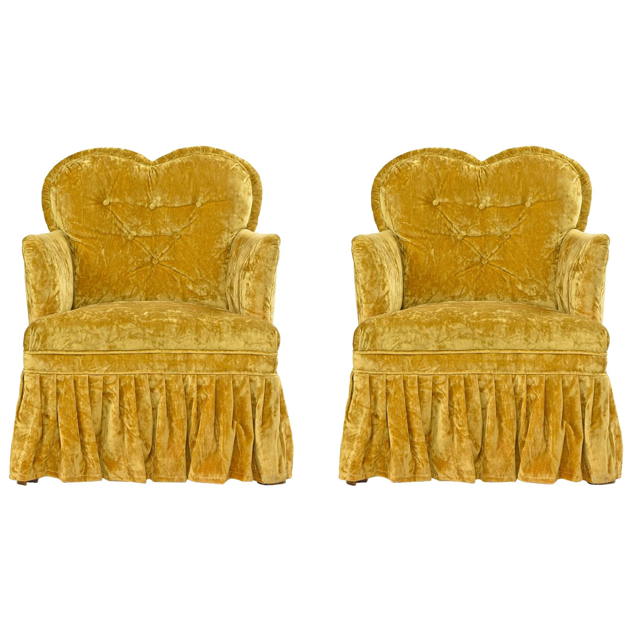 petit crushed velvet heart shaped hollywood regency chartreuse bedroom chairs