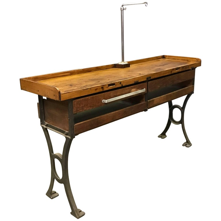 Industrial Double Wide Maple Cast Iron Jewelers Work Bench Table At 1stdibs
